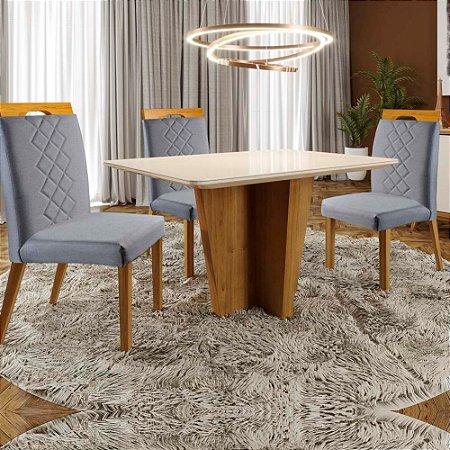Conjunto Sala de Jantar Xis Tauari 1,20m com 4 cadeiras Veneza Imperial Veludo Cinza