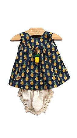 c1fb14f34 Vestido Abacaxi - Cuore Roupas Infantis