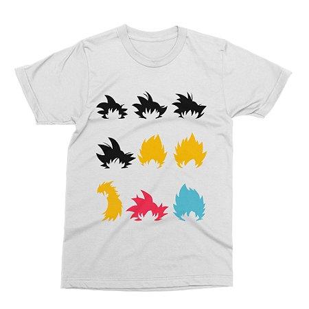 Camiseta Dragon Ball - Fases do Goku