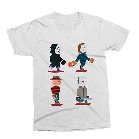 Camiseta Filmes Slashers (Branca)