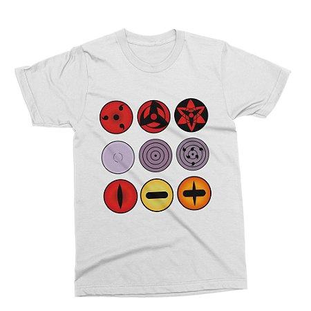 Camiseta Naruto - Sharingans (Branca)