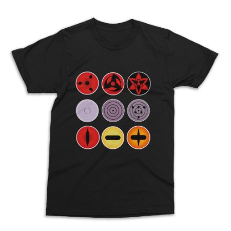 Camiseta Naruto - Sharingans (Preta)