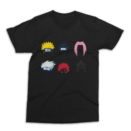 Camiseta Naruto - Personagens (Preta)