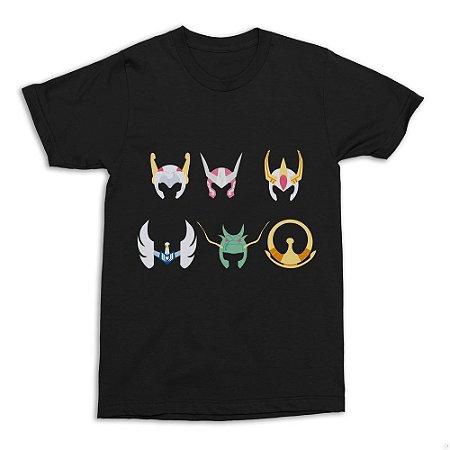 Camiseta Cavaleiros do Zodíaco - Capacetes