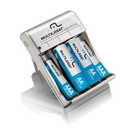 Carregador de Pilhas Multilaser AA/AAA + 2 Pilhas AA 2500mAH + 2 Pilhas AAA 1000mAH - CB045