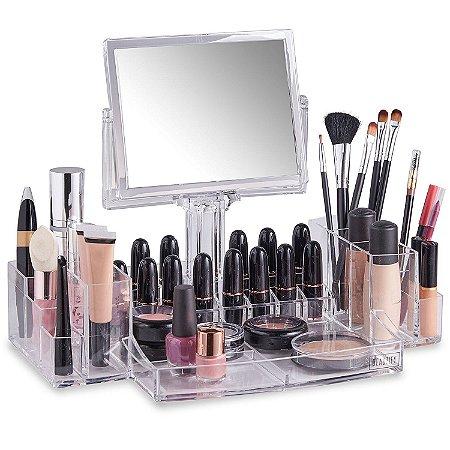 Porta Maquiagem de Acrílico com Espelho Organizador 13