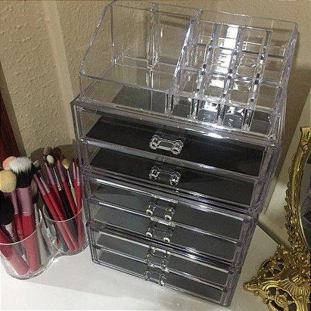 Porta Maquiagem Organizador de Acrilico com 6 Gavetas