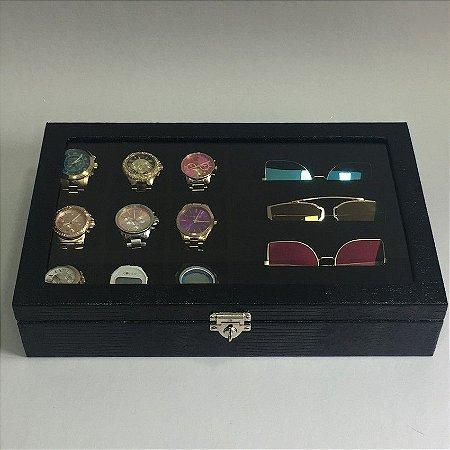 Porta 9 Relogios e 4 Oculos com Tampa - 3 Cores