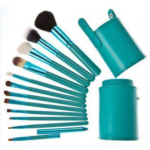 Jogo de Pincel para Maquiagem com Estojo Verde