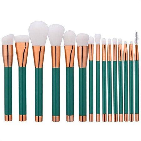 Kit 15 Pinceis Para Maquiagem Profissional Verde