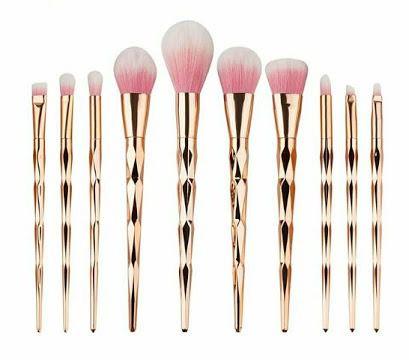 Kit 10 Pinceis De Maquiagem Diamante Unicórnio Dourado