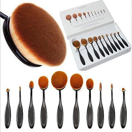 Kit Pincel Oval de Maquiagem com 10 unidades