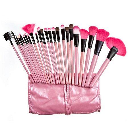 Kit De Pincel Maquiagem Rosa 24 Peças