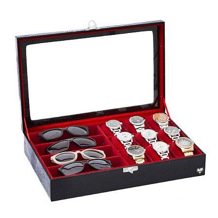 Porta 9 Relogios e 4 Oculos com Tampa de Vidro - Fundo Vermelho