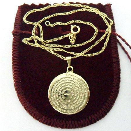 Colar Corrente e Pingente Medalha Oração Pai Nosso Folheado a Ouro ... f6f118028e