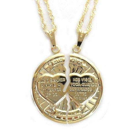 Colar Corrente e Pingente Medalha Cara Metade Folheado a Ouro - Ben ... eba19f272e