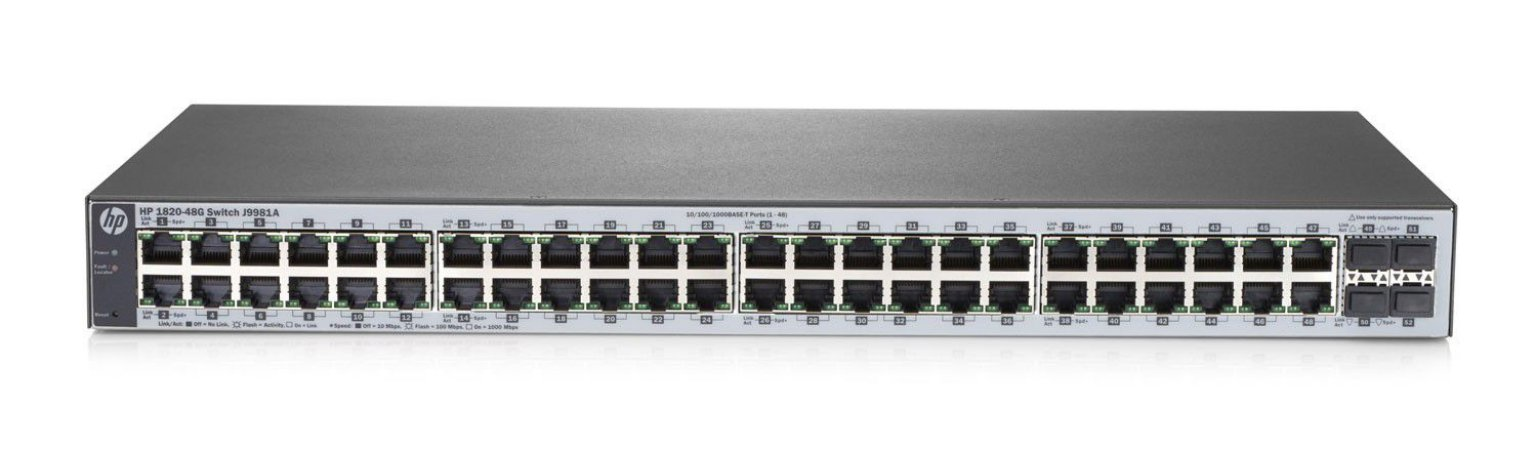 Switch 48p Gigabit (10/100/1000Mbps) + 4p SFP HPE 1820 - Gerenciável Layer 2