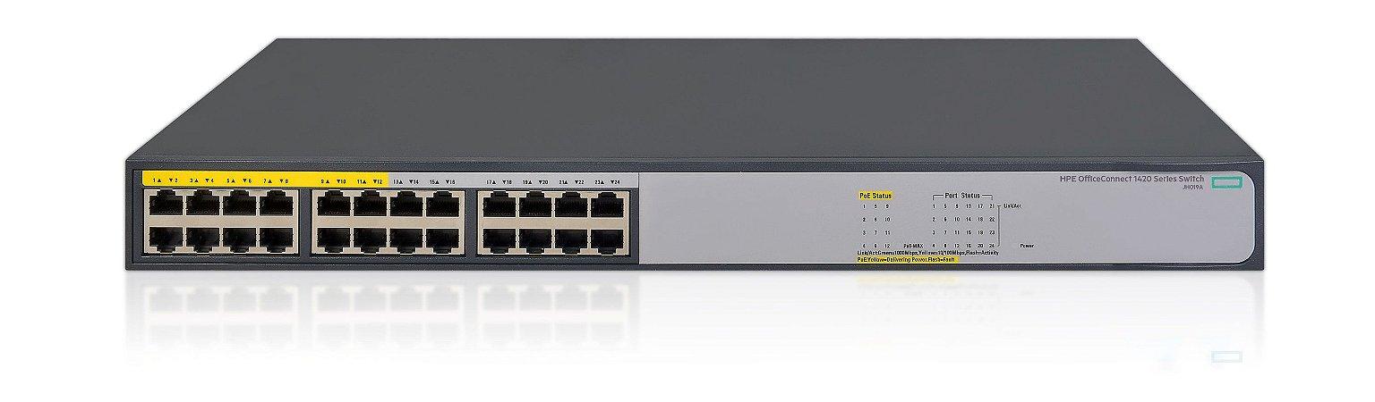 Switch 24p Gigabit (10/100/1000Mbps) 12/12 PoE+ HPE 1420 - Não Gerenciável