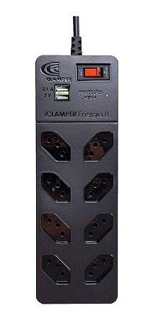 Filtro de Linha c/ 8 Tomadas + 2x USB iClamper Energia 8 - Preto