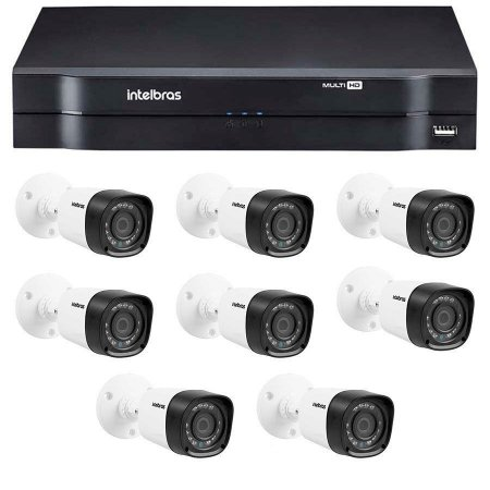 Kit 8 Câmeras de Segurança HD 720p Intelbras VHD 1010B G4 + DVR Intelbras Multi HD + Acessórios