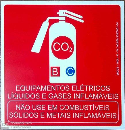 PLACA INDICATIVA DE EXTINTOR CO2