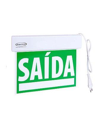 Sinalização saída SLIM Face Única verde emergência com adesivo 24x18cm