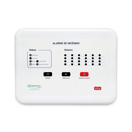 Central de Alarme de Incêndio Convencional - 12V 24 setores