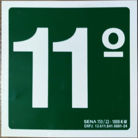 PLACA INDICATIVA DE 11° ANDAR