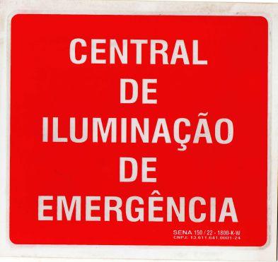 PLACA INDICATIVA - CENTRAL DE ILUMINAÇÃO DE EMERGÊNCIA