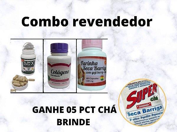 COMBO  REVENDEDOR ( COLÁGENO , SECA BARRIGA, SUEPER SLIM X ) 10 POTES DE CADA GANHE 5 CHÁ DE BRINDE