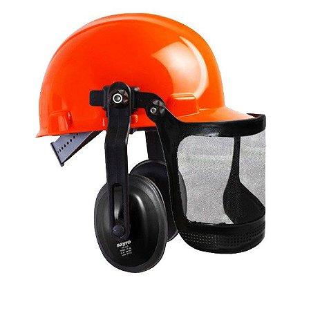 """Capacete Segurança acoplado Protetor Auditivo e Tela 6"""" - CPT 166 Sayro CA 12354 / 28007"""