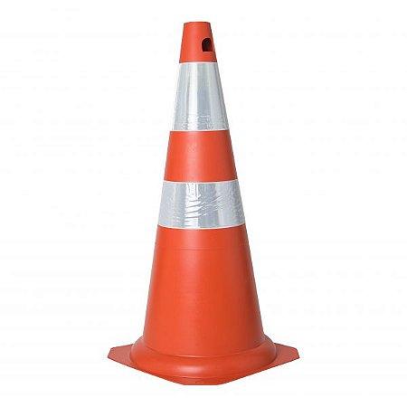 Cone De Sinalização 75cm Pvc Faixa Refletiva