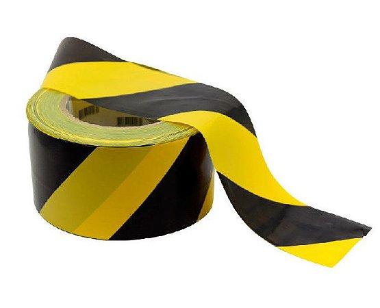 Fita Zebrada para sinalização Preta e Amarela 200mts Plastcor