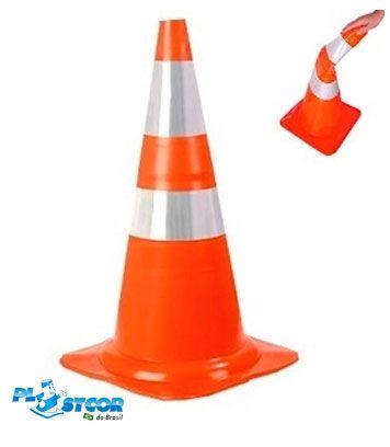 Cone Flexível 75cm Faixa Refletiva Plastcor