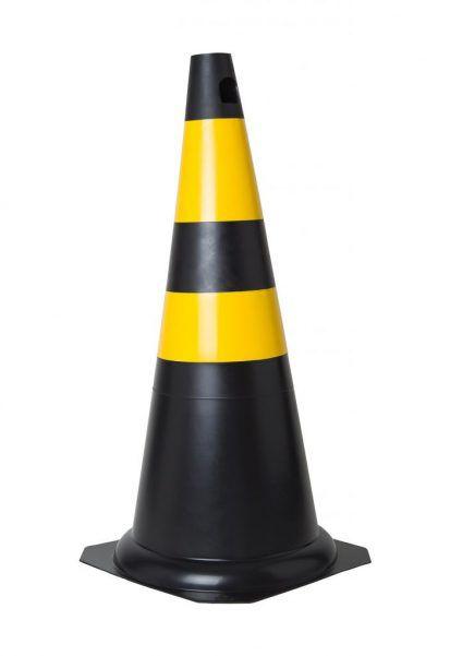 Cone Rigido 75cm Preto E Amarelo