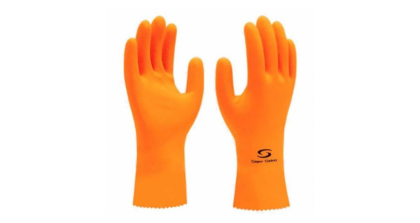 Luva de Látex antiderrapante Super Orange  Tam 09 Super Safety CA 33778