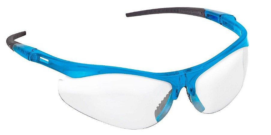 Óculos De Proteção Ss7 Incolor Haste Azul Anti Embaçante Super Safety