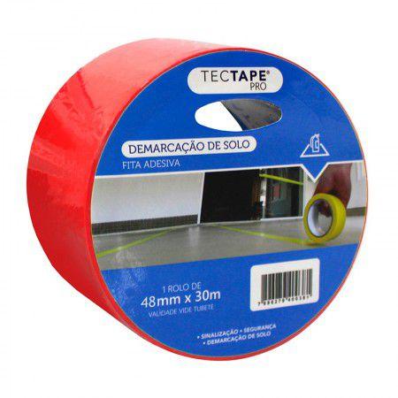 Fita Adesiva Demarcação Tectape Vermelha 48mmx30m