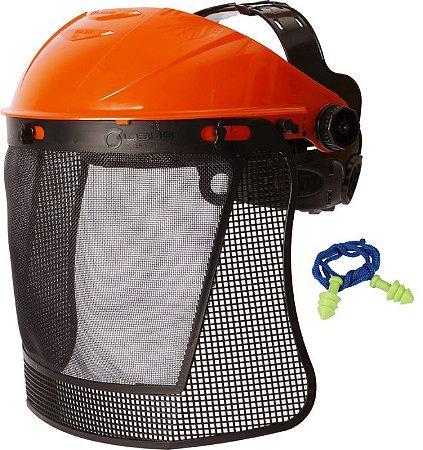 Kit Protetor Facial Eco Rocador com Malha Plastica e protetor auricular