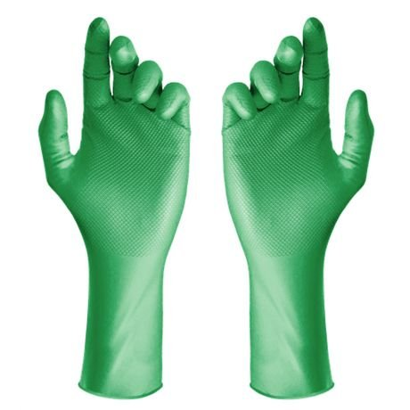 Luva Nitrílica Super Glove Max Verde Ambidestra e Antiderrapante Super Safety CA 43407