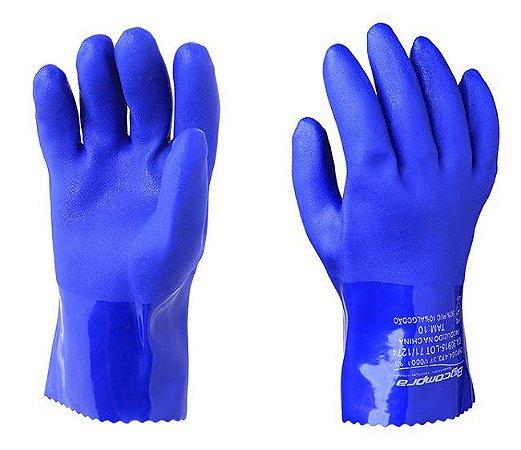 Luva Pvc Azul Forrada 26 Cm  Ca 30.915  Tam P
