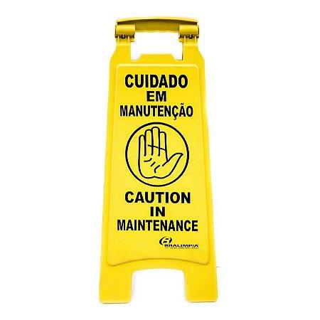 Placa Sinalização Cuidado Em Manutencao - (Port/Ing) Bralimpia