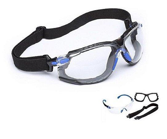 Óculos 3M Solus 1000 Incolor Scotchgard Com Haste e Elástico CA 39190