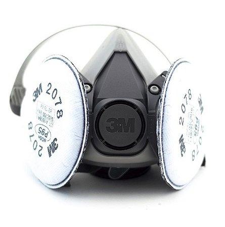 Kit Respirador Para Solda 3m - Respirador 6200 + Par De Filtro Mecânico 2078 P2 - Contra Poeiras, Névoas E Fumos 3m