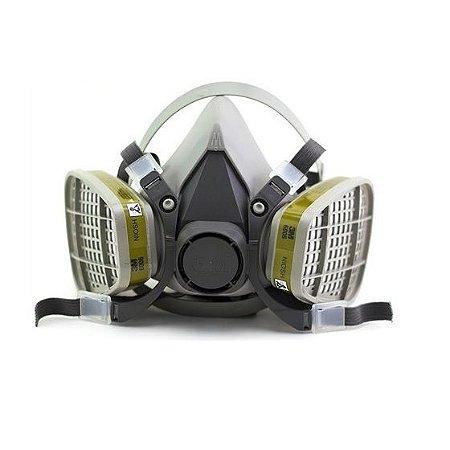 Kit Respirador Semi Facial 3M Reutilizável Série 6200 CA 4115 + Par de Cartuchos 6006 Multigases