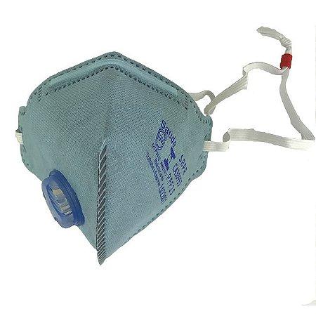 Maskface Pff-2s Plus Azul Claro Com Válvula Air Safety Ca 38953 Carvão Ativo