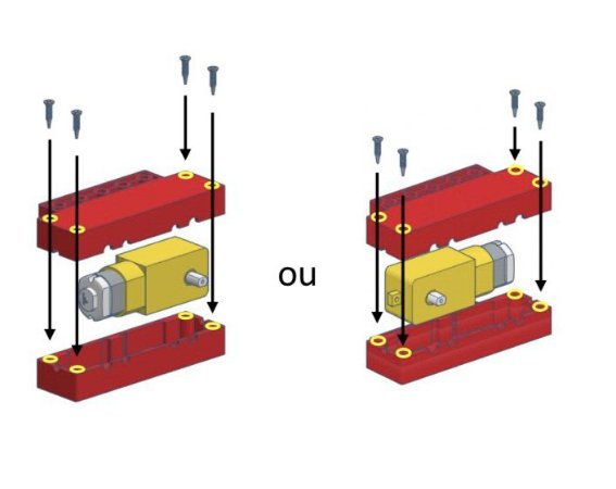 Caixa vermelha para um motor amarelo + roda furo oval