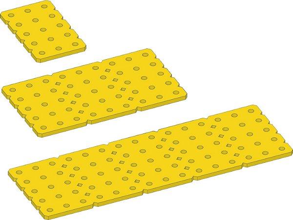 """Conjunto 3 placas 3mm """"M"""" em Termoplástico Amarelo."""