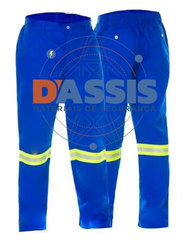Calça Antichama Azul com Refletivo - C.A 30427 - COMMANDERS