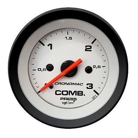 a2f89f95830 Manômetro 52mm Combustível 3kg Street Branco - GTO SHOP